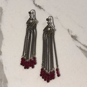 Vintage Look Dangling Earrings with Red Beads